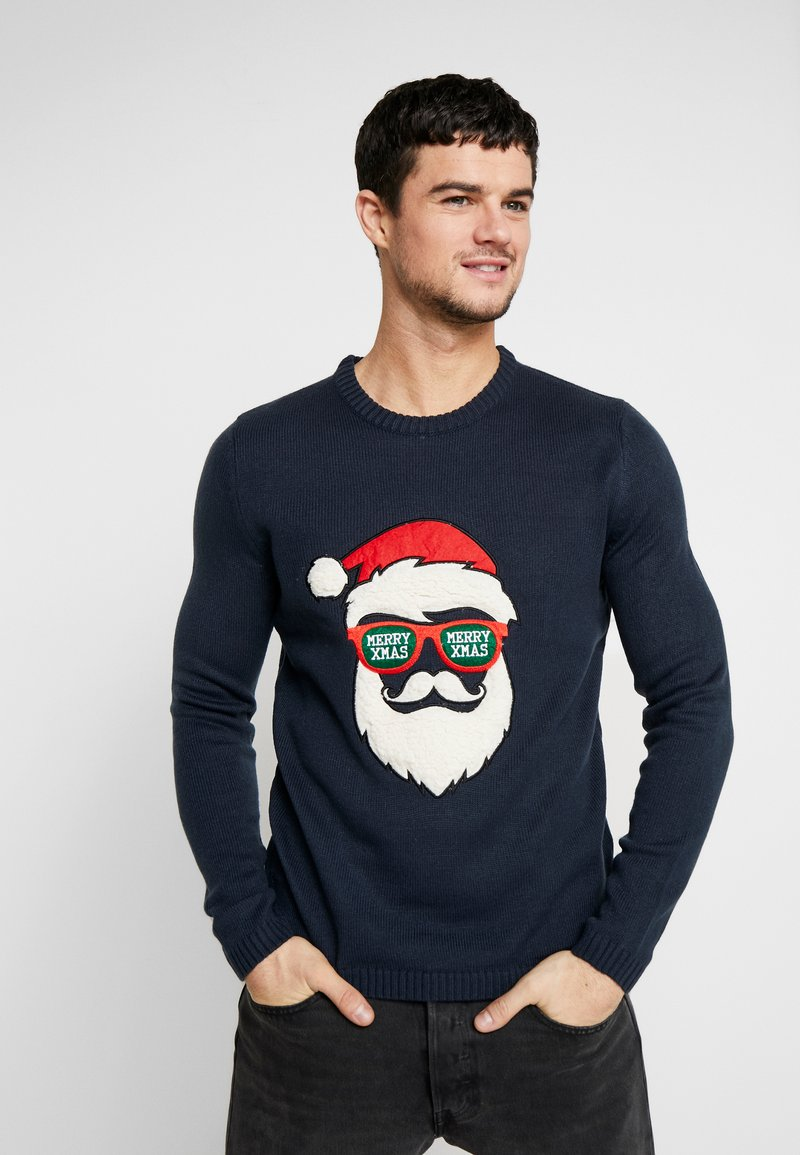 Only & Sons - ONSXMAS FUNNY BADGE - Strickpullover - blue nights