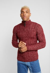 Only & Sons - HIGH NECK ZIPPER - Neule - cabernet - 0