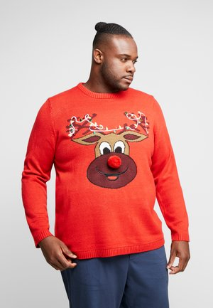 ONSXMAS FUNNY BADGE - Strickpullover - pompeian red