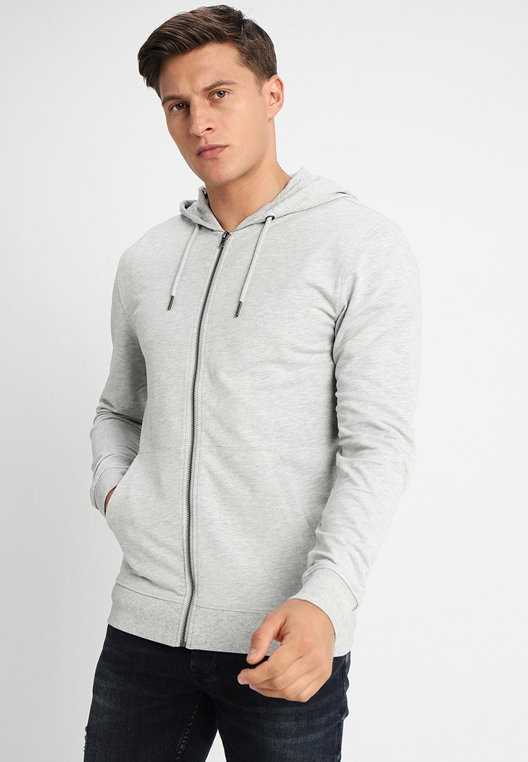 Only & Sons - ONSBASIC ZIP HOODIE UBRUSHED - Zip-up hoodie - light grey melange