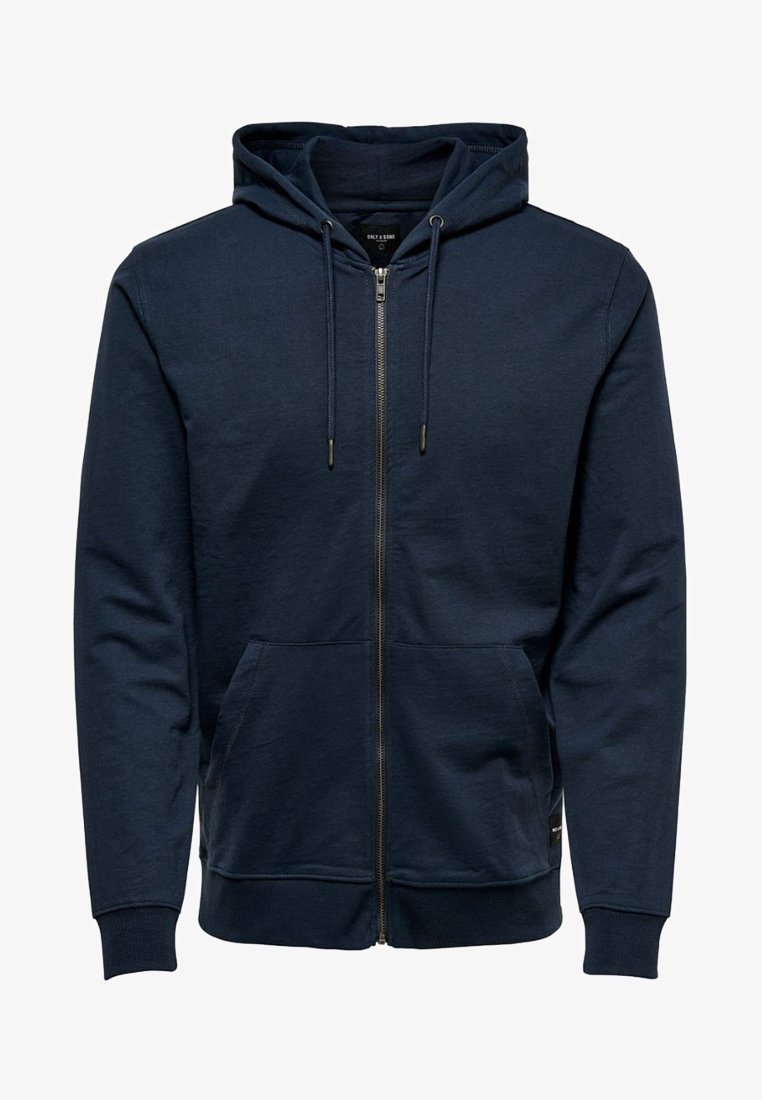 Only & Sons - ONSBASIC ZIP HOODIE UBRUSHED - Sweatjakke /Træningstrøjer - blue nights