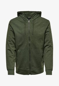 Only & Sons - ONSBASIC ZIP HOODIE UBRUSHED - Zip-up hoodie - olive night - 0