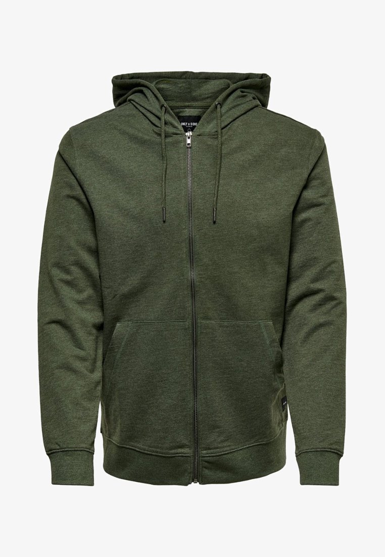 Only & Sons - ONSBASIC ZIP HOODIE UBRUSHED - Zip-up hoodie - olive night