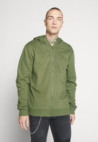 Only & Sons - ONSORGANIC REG  ZIP HOODIE  - Bluza rozpinana - olive night - 0