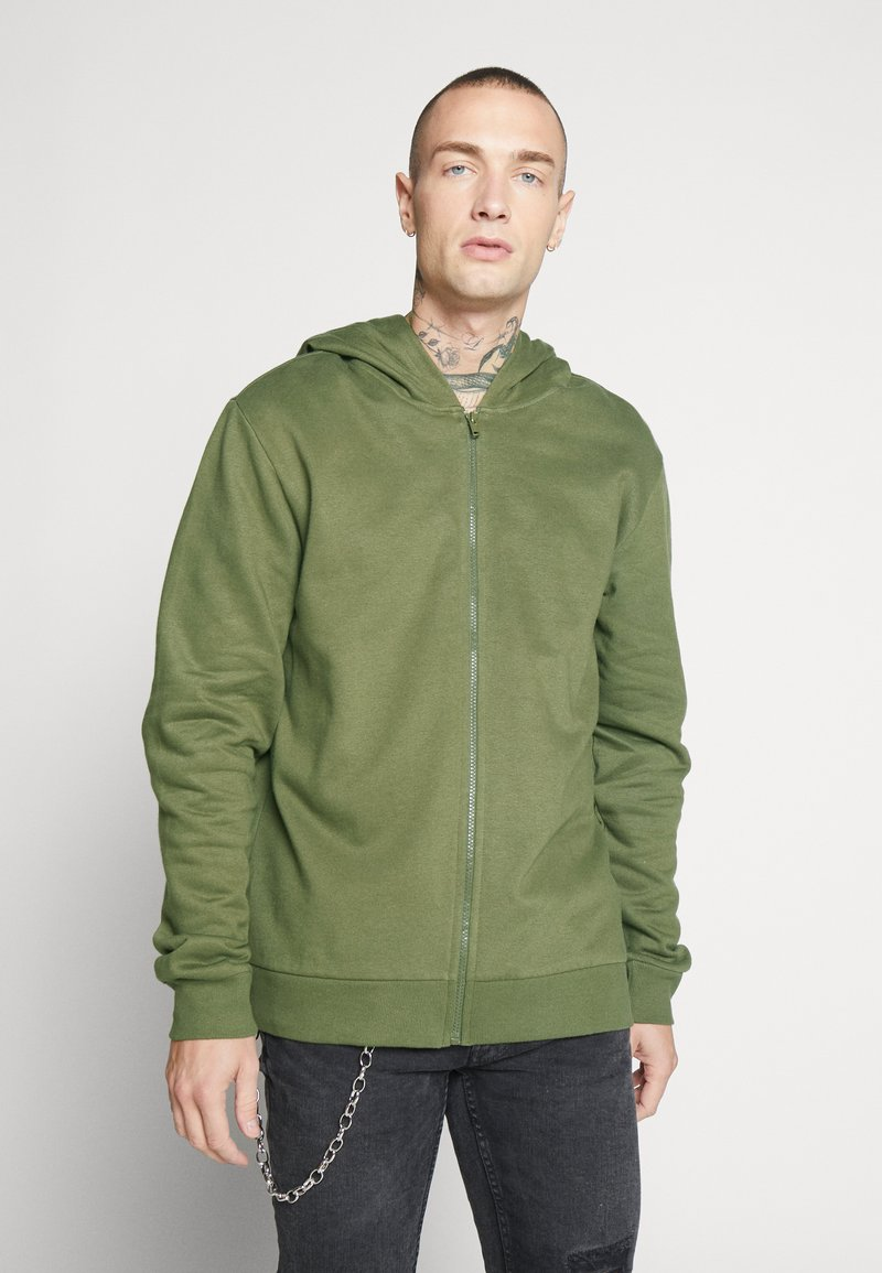 Only & Sons - ONSORGANIC REG  ZIP HOODIE  - Bluza rozpinana - olive night