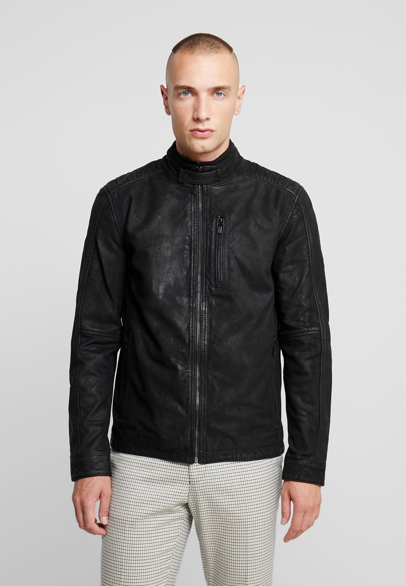 Only & Sons - ONSROBERT JACKET - Leather jacket - black
