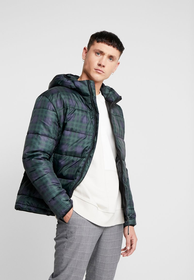 Only & Sons - ONSRICK CHECK HOODIE PUFFER  - Winterjas - forest night