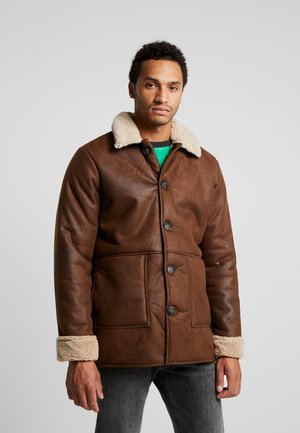 ONSLAUST JACKET - Faux leather jacket - brown