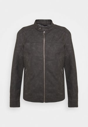 ONSJASPER JACKET - Faux leather jacket - grey pinstripe
