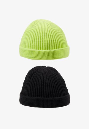 ONSSHORT BEANIE 2 PACK - Beanie - black/lime green