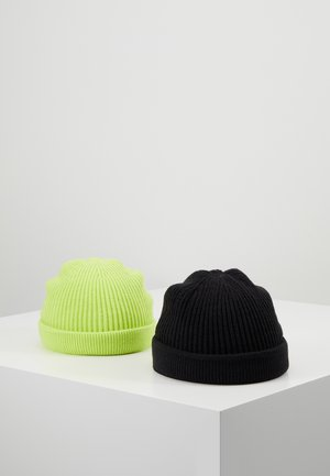 ONSSHORT BEANIE 2 PACK - Mössa - black/lime green