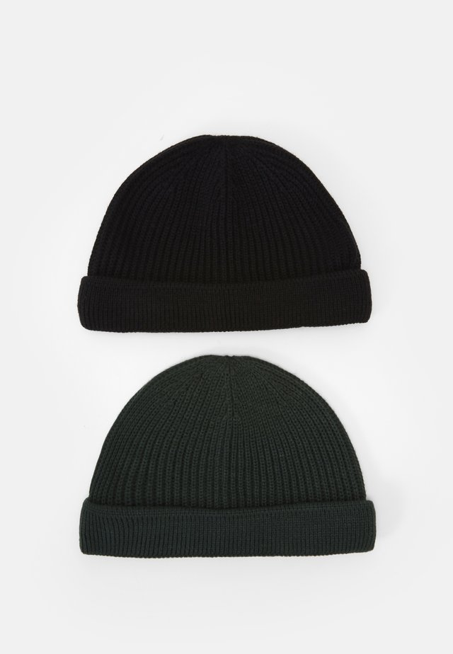 ONSSHORT BEANIE 2 PACK - Muts - black/dark green