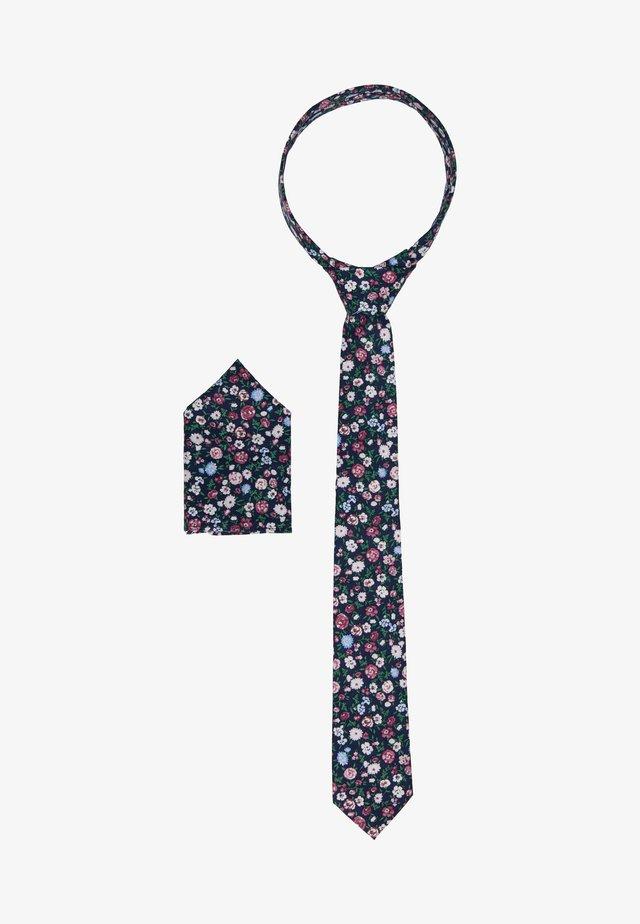 ONSTBOX TIE & HANKERCHIEF SET - Kapesník do obleku - black/misty rose flowers