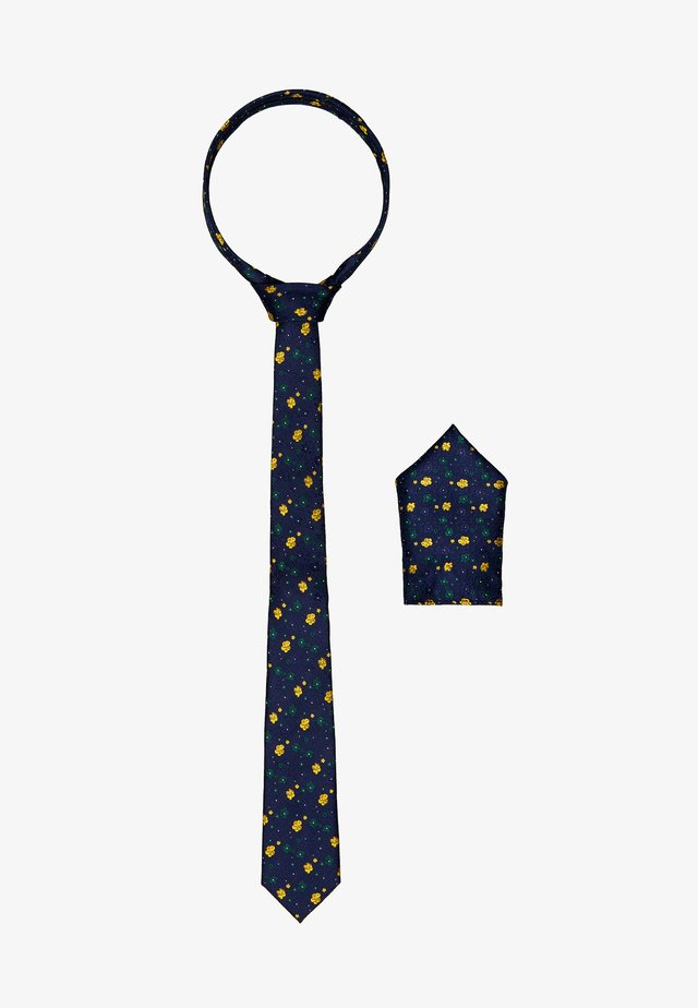 ONSTODD TIE BOX SET - Pocket square - dark navy/yellow flowers