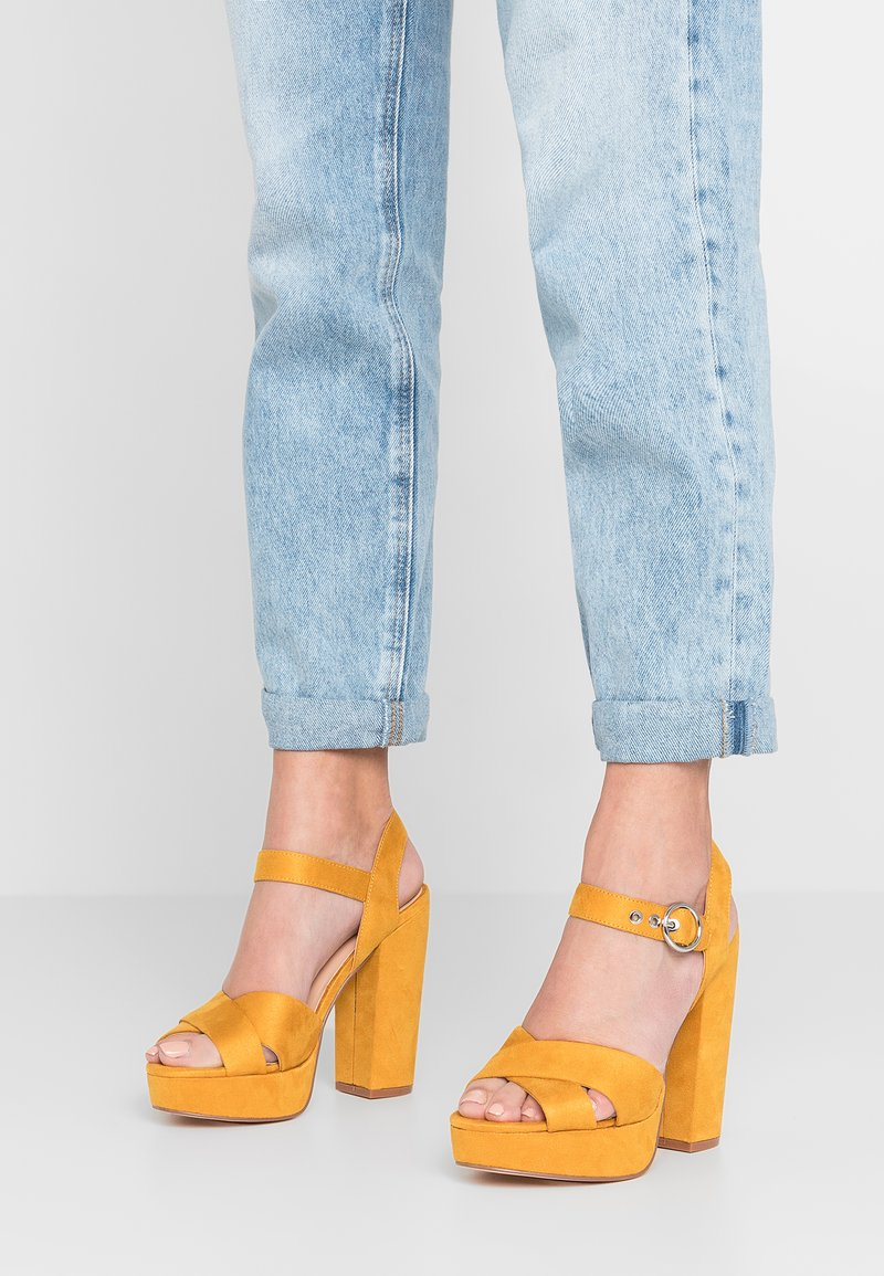 ONLY SHOES - ONLALLIE CROSSED - High heeled sandals - sunshine