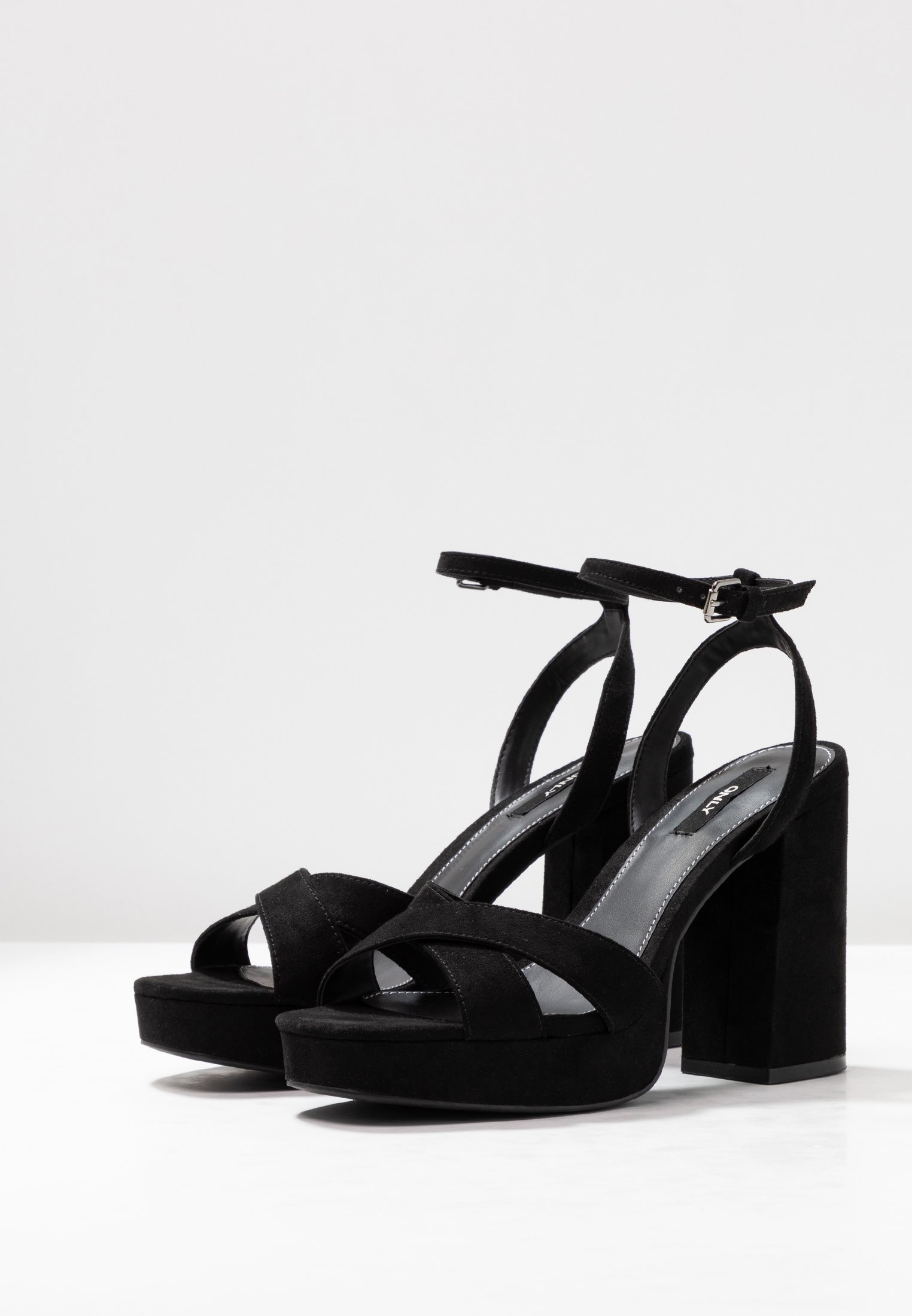 ONLY SHOES ONLAERIN CHECK - High heeled sandals - black