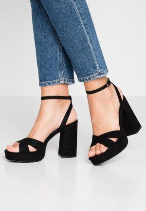 ONLAERIN CHECK - Sandales à talons hauts - black