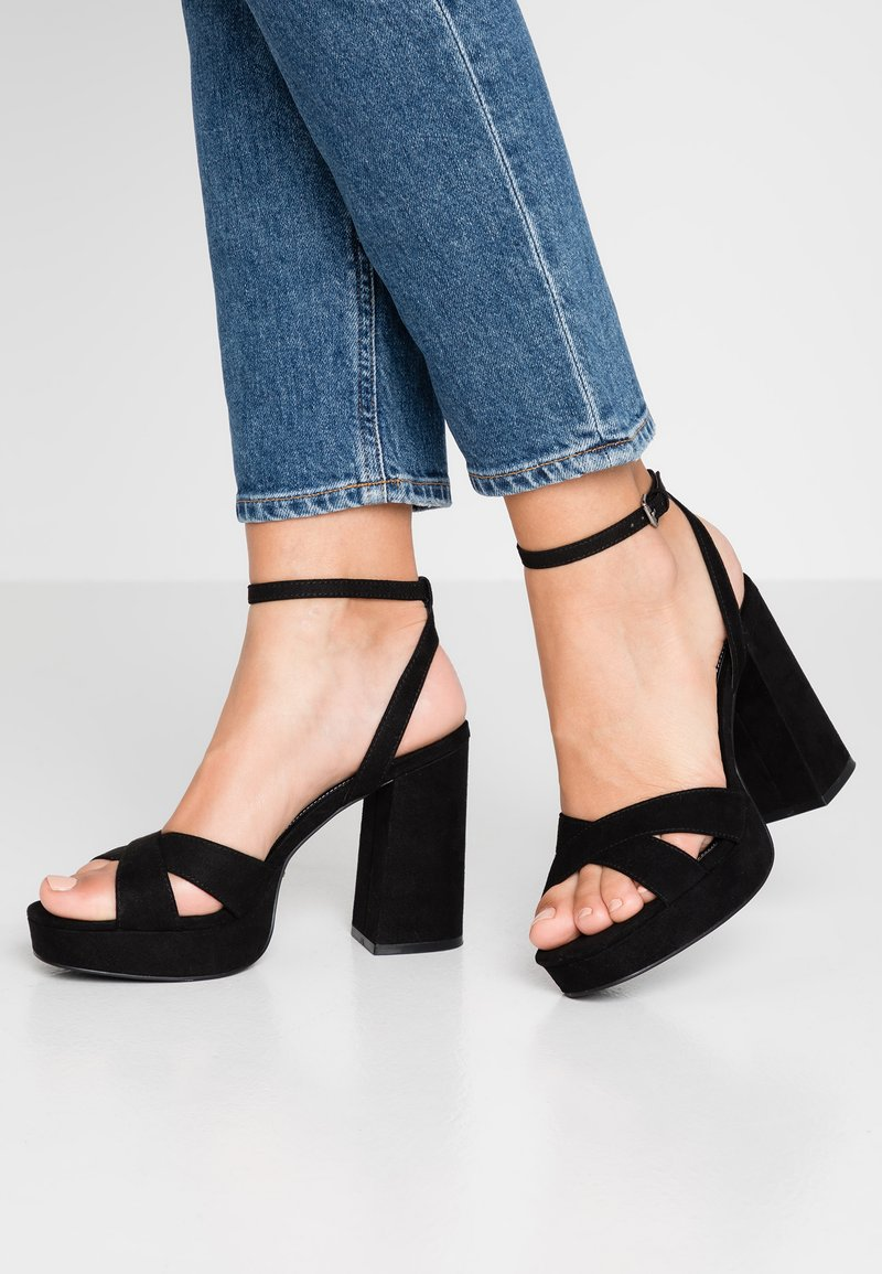 ONLY SHOES - ONLAERIN CHECK - High heeled sandals - black
