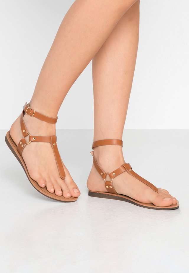 ONLMAYA ANKLE WRAP - T-bar sandals - cognac