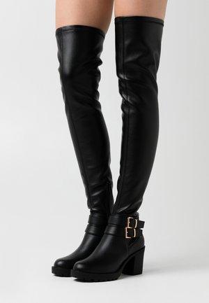 ONLBARBARA BUCKLED - Overknee laarzen - black