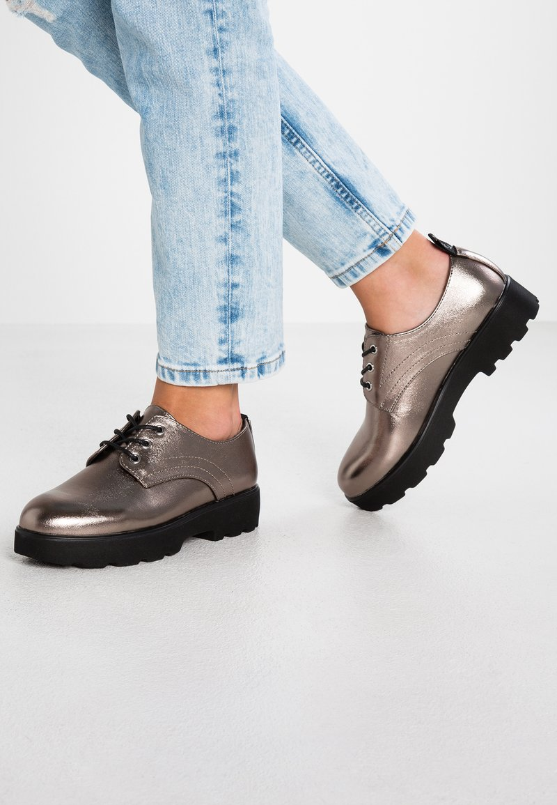 ONLY SHOES - ONLBINNY LACE UP - Lace-ups - silver