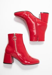 ONLY SHOES - ONLBIMBA HEELED ZIP BOOTIE - Classic ankle boots - red - 3