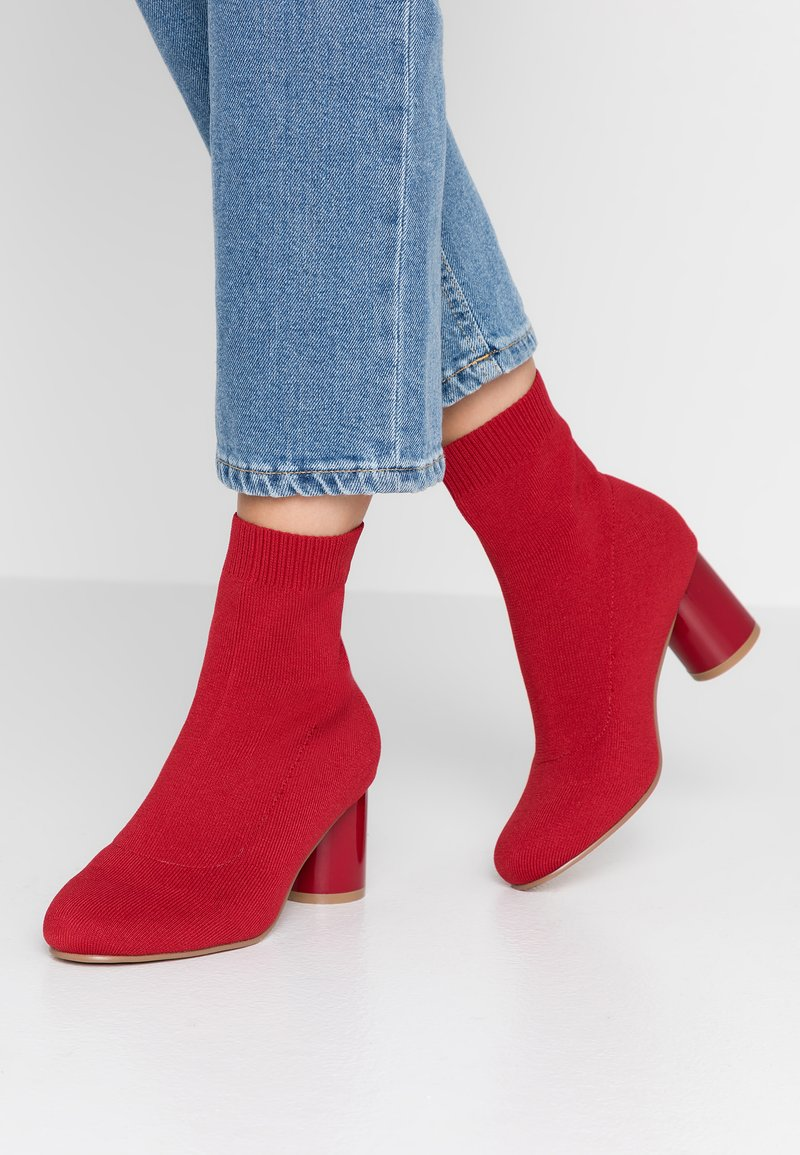 ONLY SHOES - ONLBIMBA HEELED SOCK BOOTIE - Classic ankle boots - red