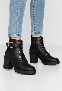 ONLY SHOES - ONLBARBARA BUCKLE LACEUP - Ankle boots - black - 0