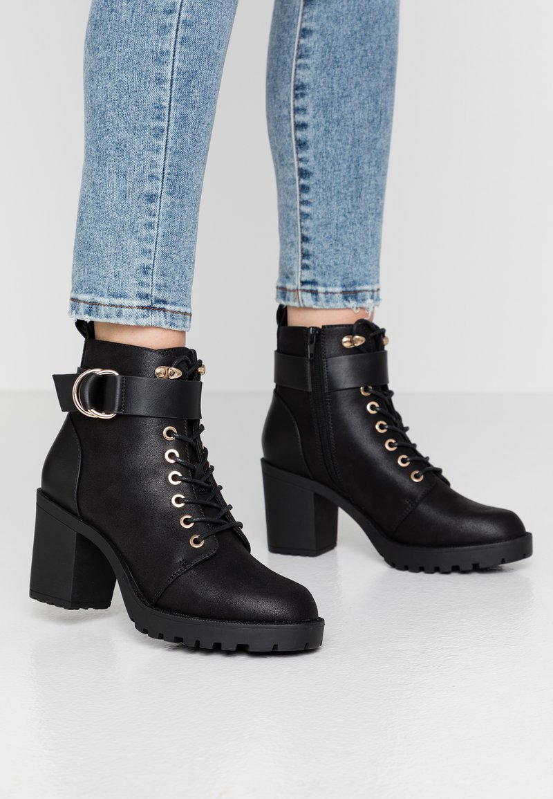 ONLY SHOES - ONLBARBARA BUCKLE LACEUP - Ankle boots - black