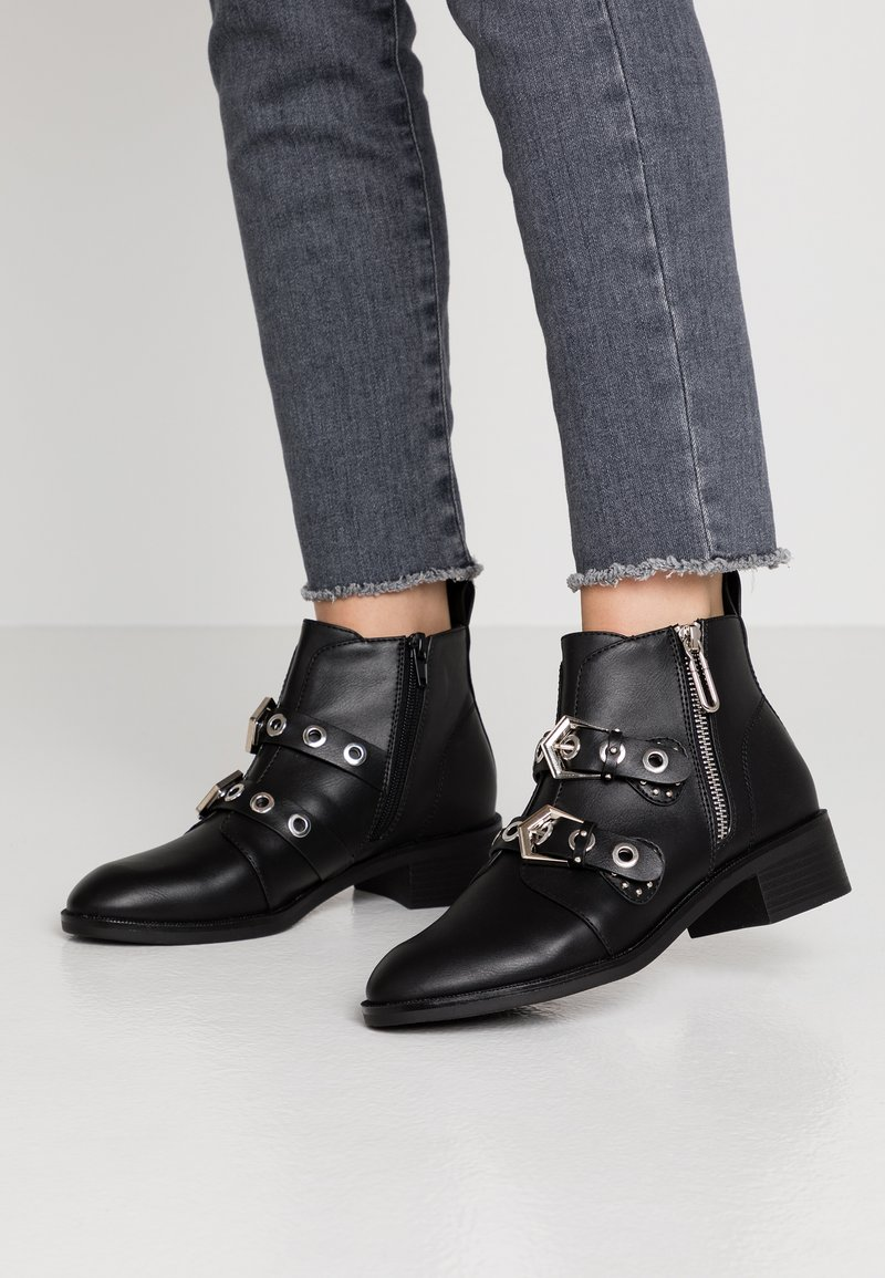 ONLY SHOES - ONLBRIGHT ZIP BUCKLE - Boots à talons - black