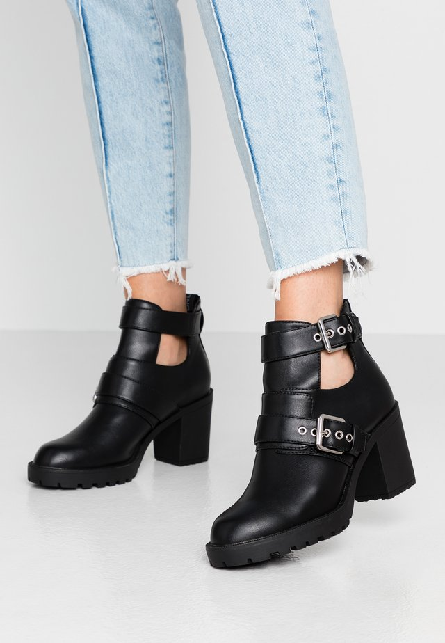 ONLBARBARA DOUBLE STRAP HEELED - Ankle boot - black