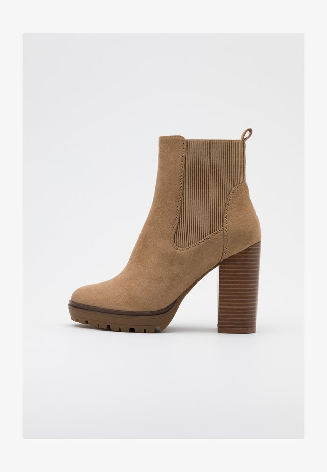 ONLTAYA STACKED BOOT - High heeled ankle boots - beige