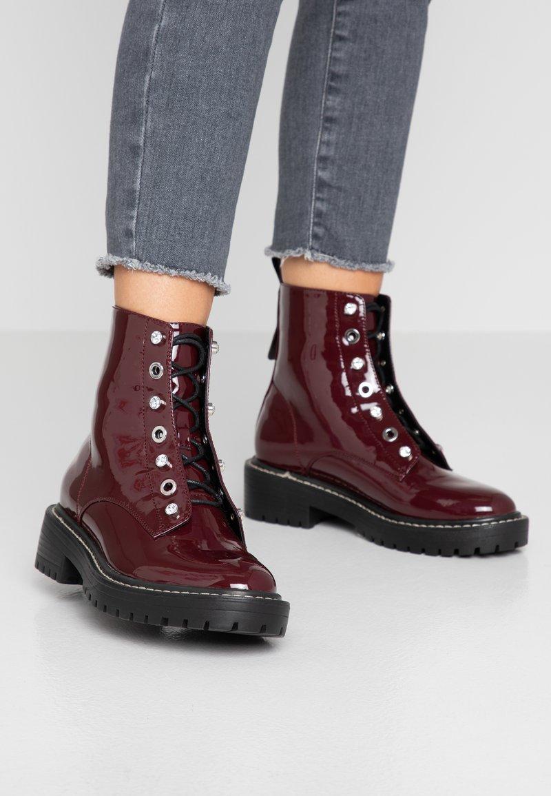 ONLY SHOES - ONLBOLD LACE UP BOOTIE - Lace-up ankle boots - bordeaux