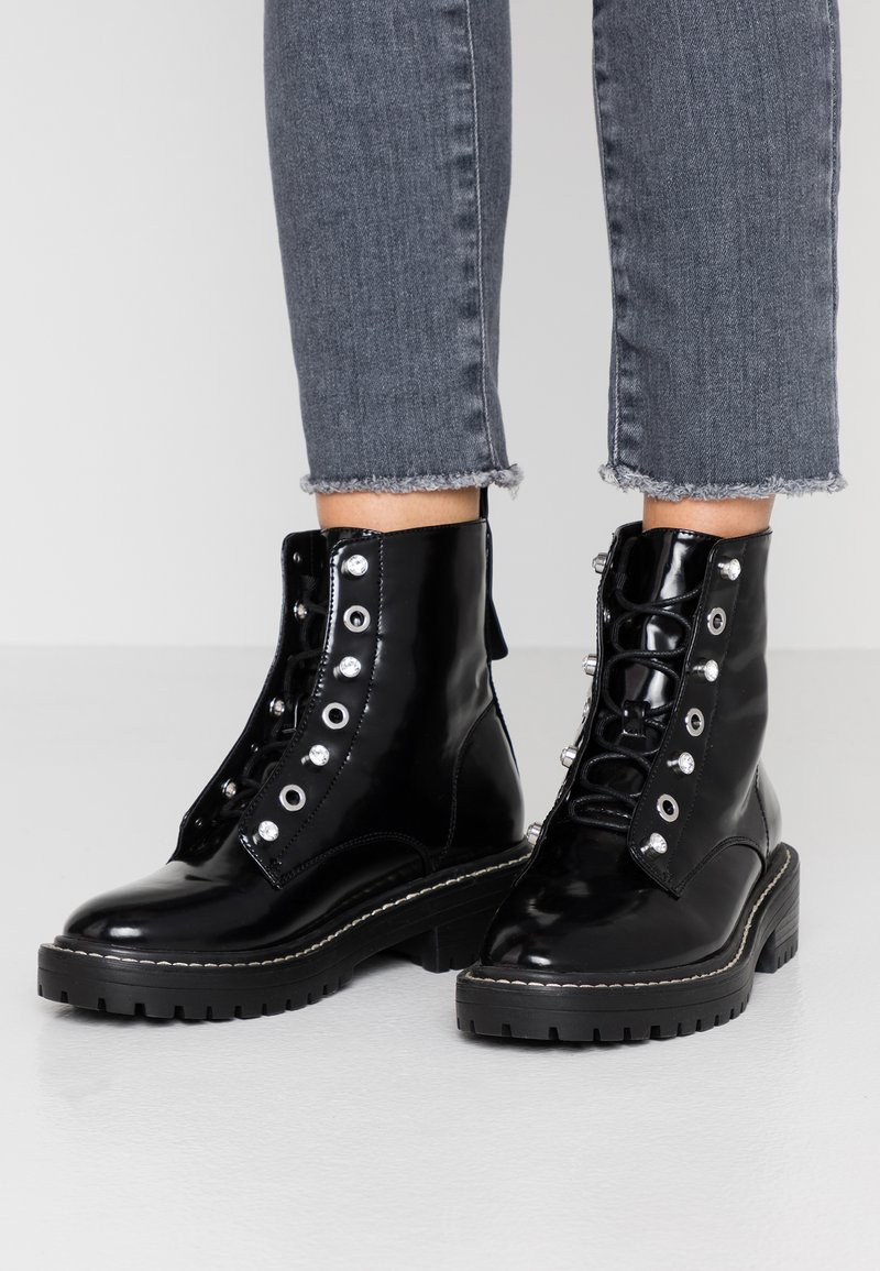 ONLY SHOES - ONLBOLD LACE UP BOOTIE - Lace-up ankle boots - black