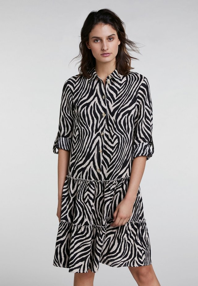 IM ZEBRADRUCK - Shirt dress - black/offwhite