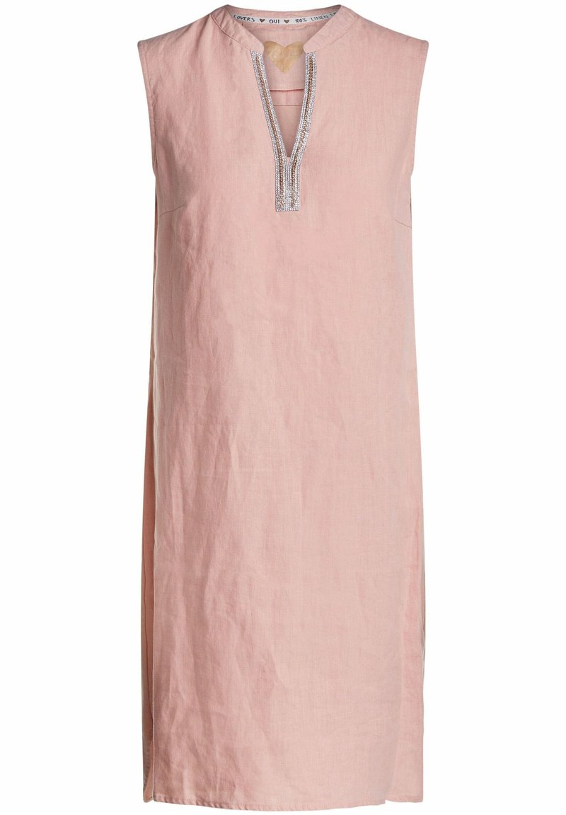 Oui - MIT KETTEN- UND STRASSAPPLIKATION - Day dress - light apricot