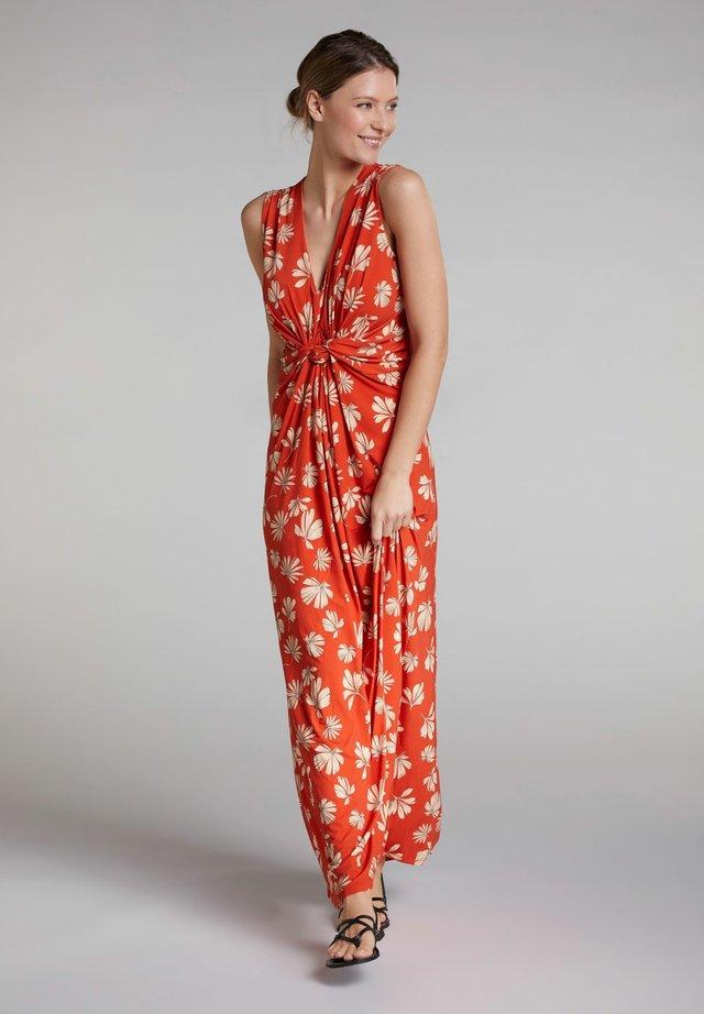 Maxi dress - dk orange white