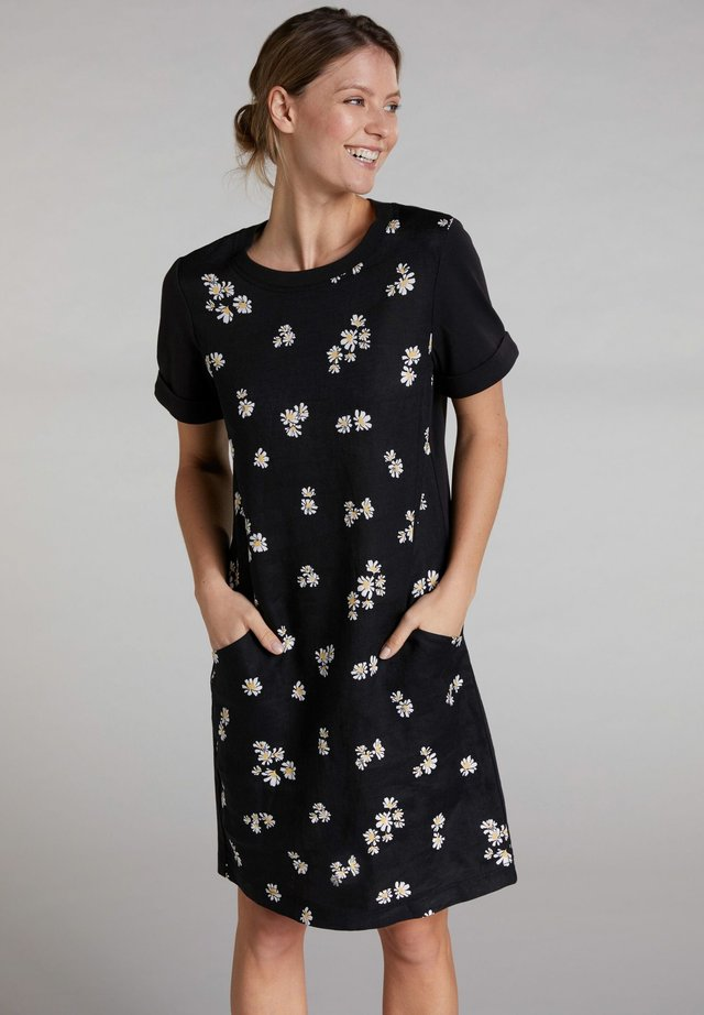 MIDI KLEID IM LEINEN-JERSEY MIX - Day dress - black offwhite