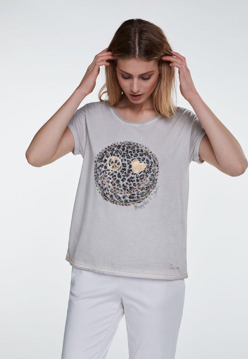 Oui - Print T-shirt - grey