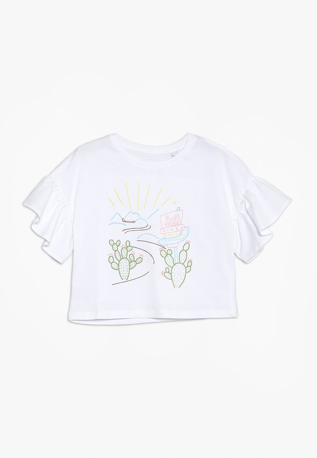 EMBROIDERED ROAD TRIP TEE - Printtipaita - white