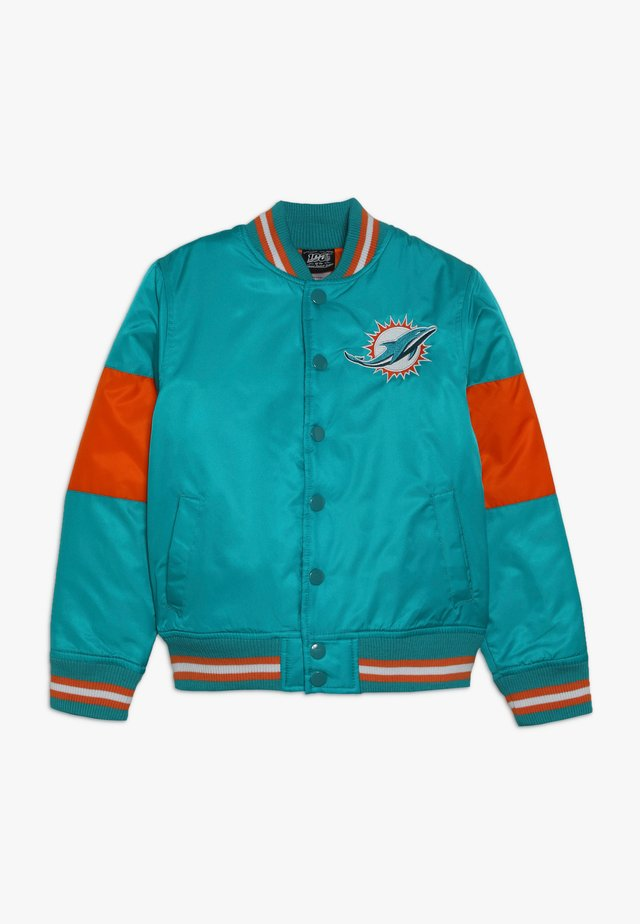 NFL MIAMI DOLPHINS VARSITY JACKET - Artykuły klubowe - turbogreen/brilliant orange