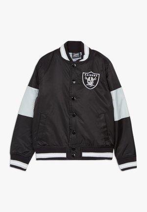 NFL OAKLAND RAIDERS VARSITY - Bomber bunda - black/field silver