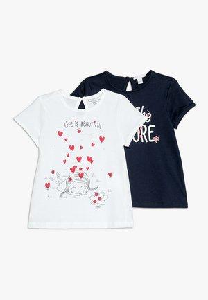 2 PACK - Print T-shirt - brilliant white/navy blazer