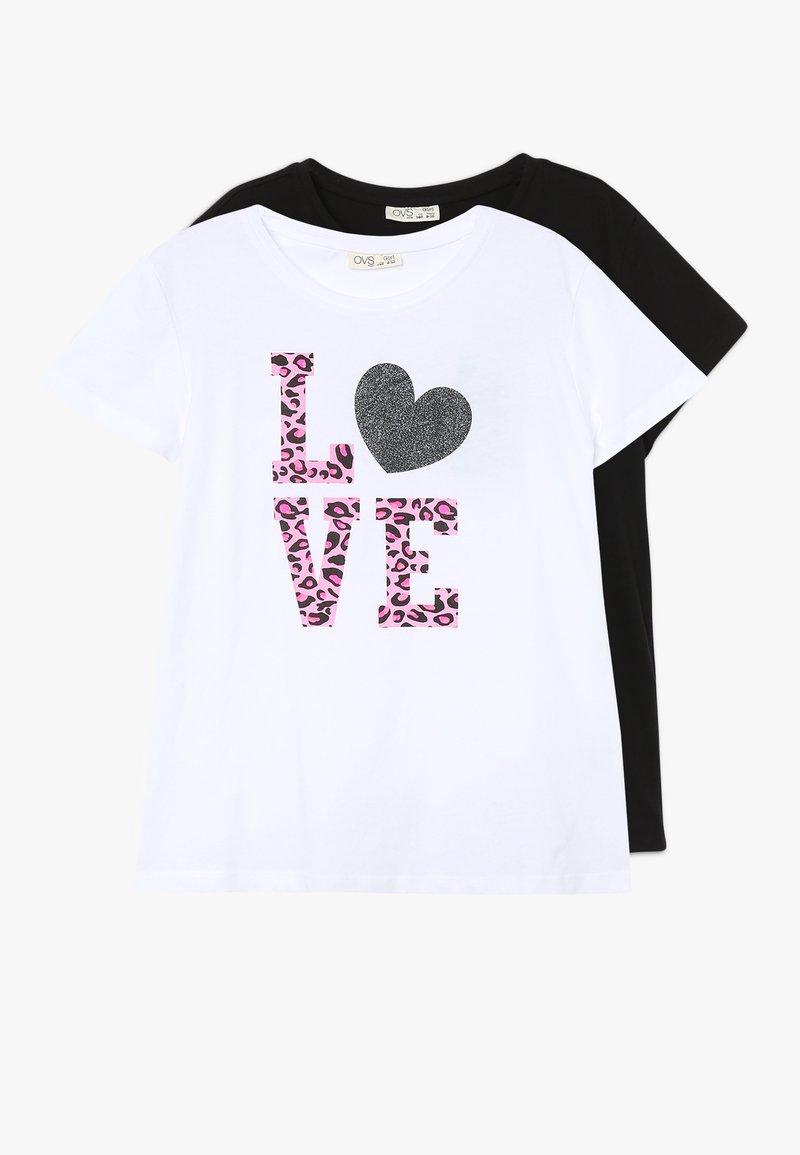 OVS - PRINT 2 PACK - T-shirts print - blanc de blanc/meteorite