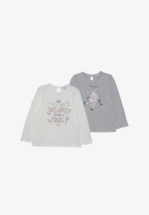 BABY PRINT 2 PACK  - Long sleeved top - grey melange/blanc de blanc