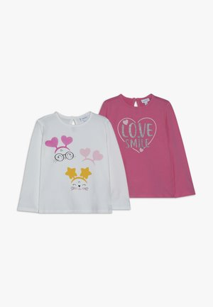 BABY PRINT 2 PACK - Long sleeved top - snow white/fuchsia purple