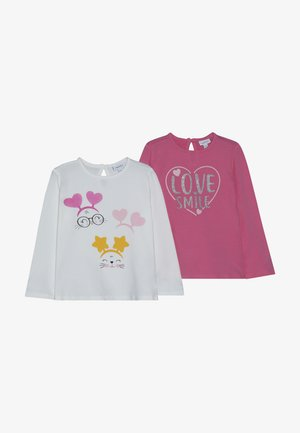 BABY PRINT 2 PACK - Long sleeved top - snow white/fuchsia purple