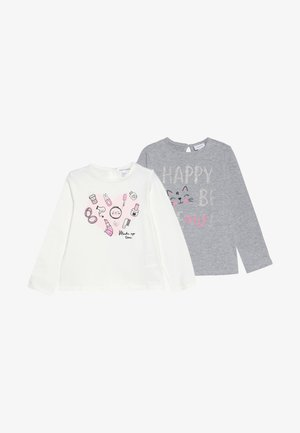 BABY PRINT 2 PACK - Langærmede T-shirts - gull gray/brilliant white
