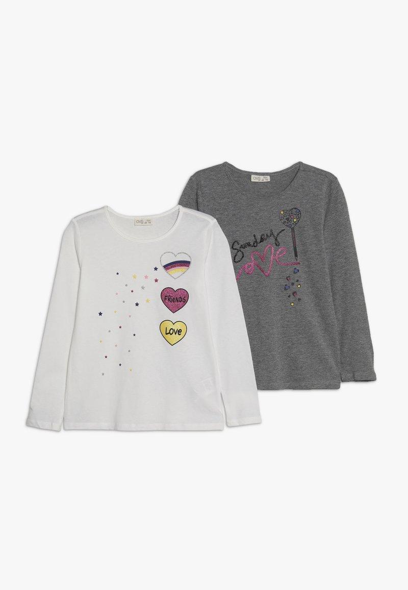OVS - 2 PACK  - Langærmede T-shirts - white/pewter
