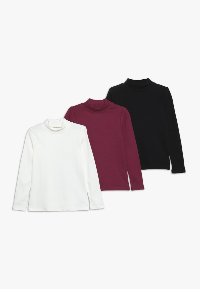 OVS - SOLID MOCK NECK 3 PACK  - Long sleeved top - snow white/anemone/pirate black